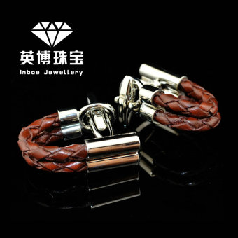 Harga The new inbev brown braided leather cuff links cufflinks men's french cuff shirt button