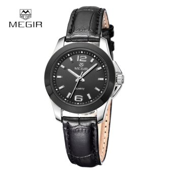 MEGIR Quartz Watch Women Luxury Couple Female Genuine Leather Strap Dress Wristwatch - intl