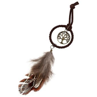 Metal Tree Feather Pendant Dream Catcher Key Chain - intl