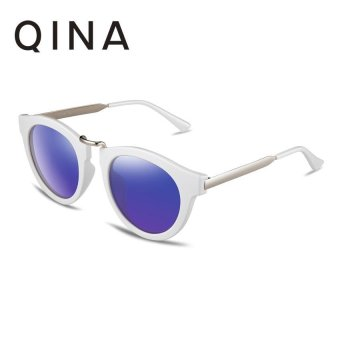 Harga QINA Polarized Women White Sunglasses Cat Eye UV 400 Protection Blue Lenses QN3505 - intl