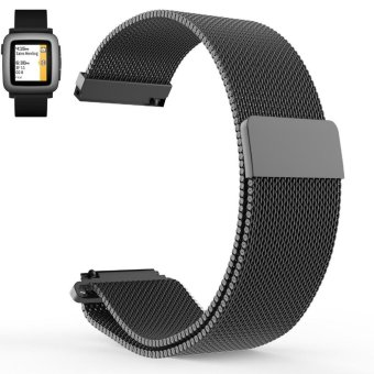 Harga Pebble Time / Pebble Time Steel Milanese Magnetic Loop Replacement Watch Band Strap for Pebble Time Steel 22 mm Black - intl