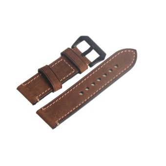 Harga Genuine Leather Brown Watch Strap Band Watchband 24mm Width Black Buckle 72 - Intl