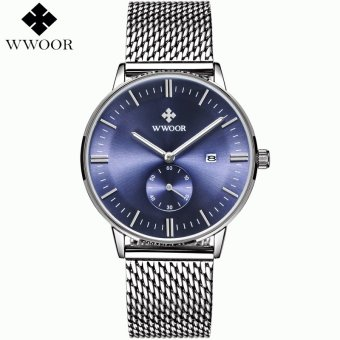 Harga Wholesale WWOOR Date Clock Male Waterproof Quartz Watch Men Silver Steel Mesh Strap Luxury Casual Sports Wrist Watch 8808 - intl