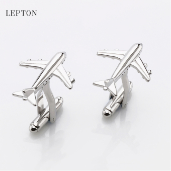 Harga Fine aircraft cufflinks men's French shirt FIR cuffs buckle business solid color metal cufflinks