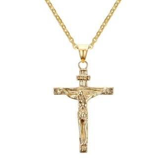 Harga Stainless Steel Jesus Crucifix Cross Pendant Necklace for Men Women Christian,Gold,Free Chain - intl