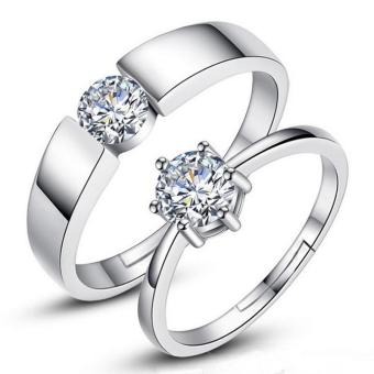 Harga Fashion Lovers Rings Silver Adjustable Couple Ring Jewelry E013 - intl