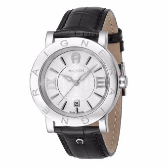 Aigner Cortina SS (A26085) - Black Leather Strap - Silver Tone Case