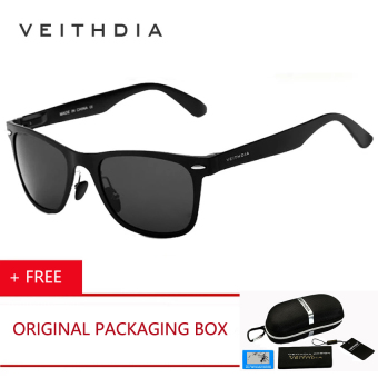 VEITHDIA Brand Aluminum Men's Mirror Polarized Sun Glasses Driving Glass Goggle Eyewear Accessories Sunglasses For Women Men ( Black ) [ Buy 1 Get 1 Freebie ]