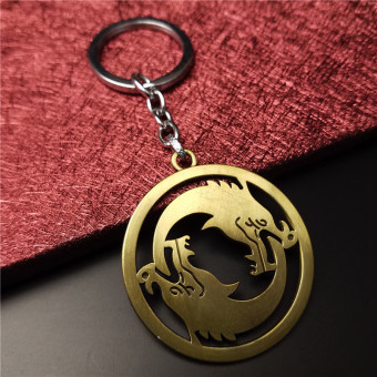 Metal Overwatch Keychain Hanzo Let the Dolagon Consume You OW Key Chains for Overwatch Fans-GOLD - intl