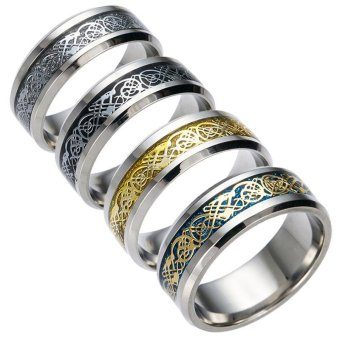 Harga OEM Dragon Design Ring Stainless Steel Ring US Size 11 -With Gift Box - intl