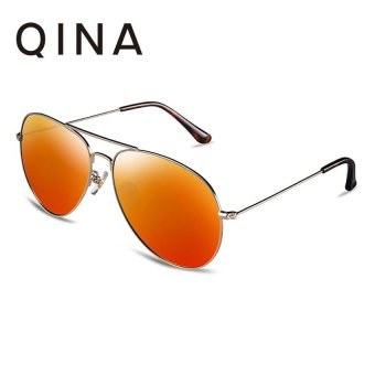 Harga QINA Polarized Men Light Gold Sunglasses Pilot UV 400 Protection Orange Lenses QN3526 - intl