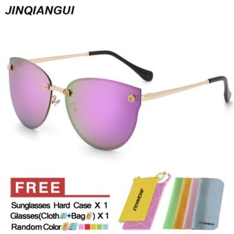 Harga Sunglasses Women Cat Eye Retro Purple Color Polaroid Lens Titanium Frame Driver Sunglasses Brand Design Original Box Women Oculos