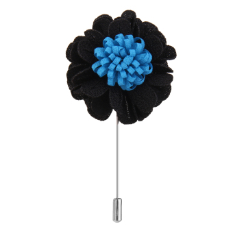 BolehDeals Handmade Boutonniere Stick Lapel Tie Pin Brooch Flower for Men - Black