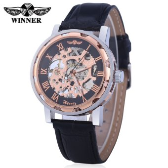 Harga Winner W001 Men Hollow Mechanical Watch with Leather Band Roman Scale - intl