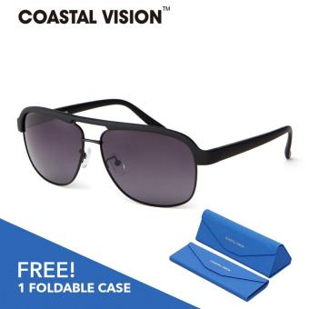Harga COASTAL VISION Polarized Men Black sunglasses Pilot anti UVA/B lenses CVS5812