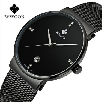 Harga 2017 New WWOOR Brand Mens Watches Ultra Thin Date Clock Male Waterproof Sports Quartz Men watch Gold Casual Wristwatch - intl