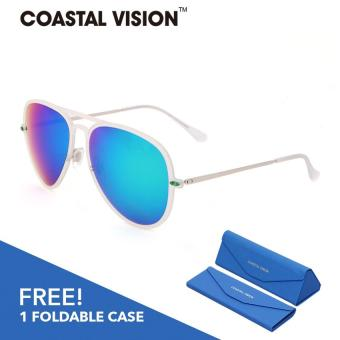 Harga COASTAL VISION Women White sunglasses Pilot anti UVA/B Mirror lenses CVS5020