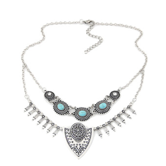Harga Ethnic Gypsy Bohemian Tribal Boho Coin Statement Necklace(Silver) - intl