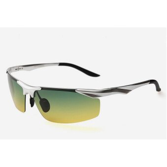 Harga Men's Polarized Sunglasses Aluminum Magnesium Alloy Frame Sports Night Driving 6022 (day and night SILVER)