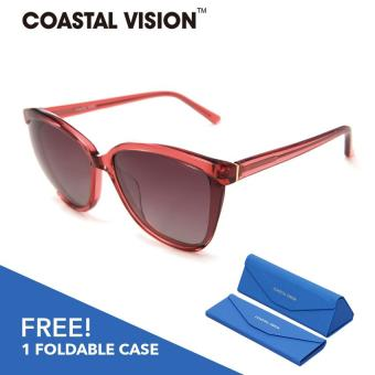 Harga COASTAL VISION Polarized Women Red sunglasses Oversize anti UVA/B lenses CVS5036