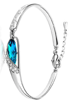 Harga Fancyqube Blue Crystal Bangle Decorated With Rhinestone Silver Chain