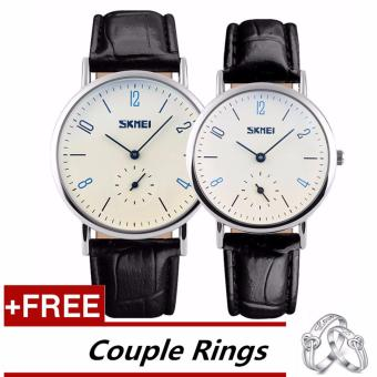 Harga SKMEI Classic Lovers Couple Watch Women Men's Watches Quartz Waterproof Wrist Watches 9120 - Black White +Free Adjustable Lovers Rings [Buy 1 Get 1 Free] - intl