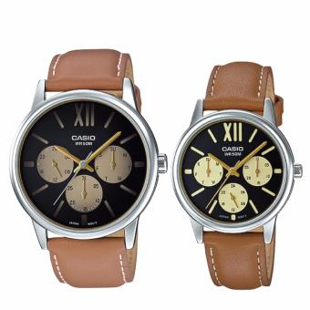 Harga Casio Couple Leather Watch LTPE312L-5B MTPE312L-5B (Brown)
