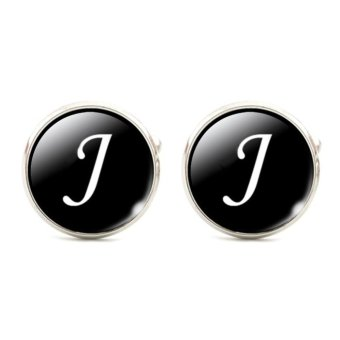 Harga Moonar Letters Men Suits Shirt Cuff Links Glass French Cuff Accessories (letter J) - intl