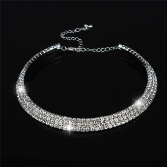 Harga LALANG New Women Crystal Rhinestone Necklace Crew Neck Jewelry 3-rows Crystal