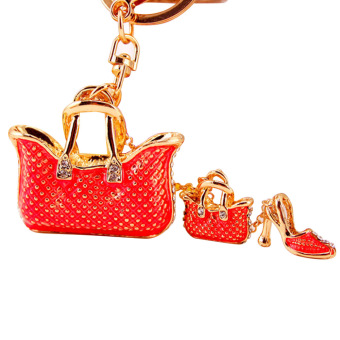 Women Girls Mini Tote Bag and High-heeled Shoe Style Metal Zinc Alloy Rhinestone Hanging Key Ring Chain for Bag Purse Wallet Pouch Red