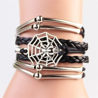 Harga Hot Retro Spider Web Weave Bracelet Infinity Leather Multilayer Novelty Handmade Black Bracelet - intl