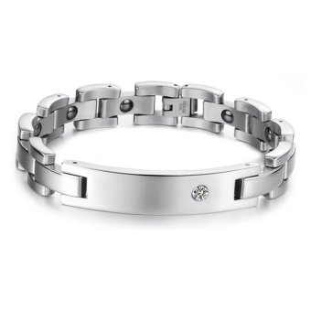 Harga 360WISH New Fashion with Health Care Men's Magnetic Radiation With Anti-Fatigue Titanium Steel Bracelet - Silver