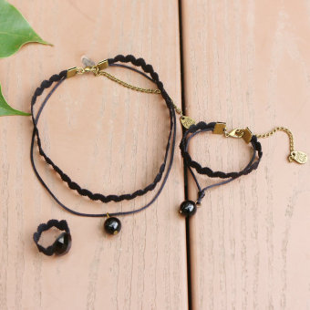 Japan and South Korea black new wavy necklace
