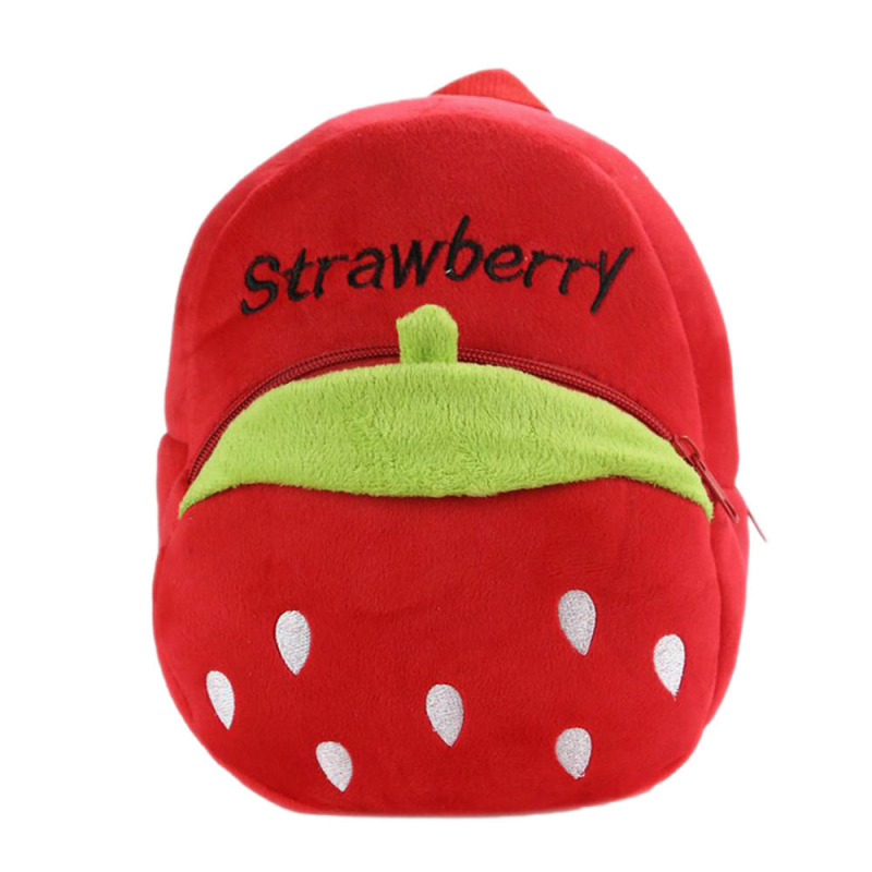 Kids Babies Cartoon Fruit Pattern Kids Child Small Soft Plush Schoolbag School Bag Backpack Red Strawberry