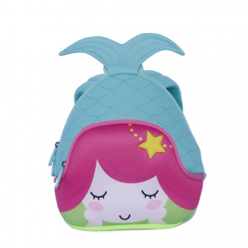 KinderBrands Nohoo Ergonomic 3D Mermaid Kids' Neoprene Backpack School Bag (Blue)