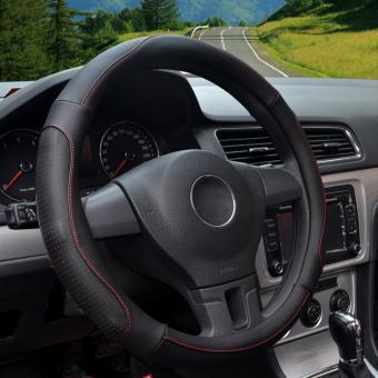 LUOWAN Car Steering Wheel Covers,Diameter 14 inch(35.5-36CM),PULeather,for Full Seasons,all black-S - intl - 3