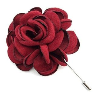 Men's Flower Lapel Pin Brooch Handmade Boutonniere for Suit - intl