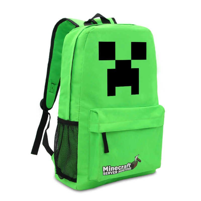 Minecraft Backpack Zipper Travel Bags Book Bag School Students Pack Green Intl