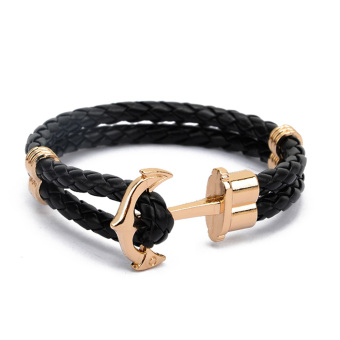 Moonar Fashion PU leather Weaved Anchor Bracelet for Couples Lovers