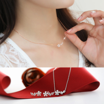 Ms. s925 silver Snow Flower temperament clavicle chain