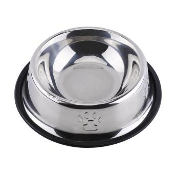 Pet Bowl Diner Dish Stainless Steel Anti Slip Food Water Feeder(18cm) - intl