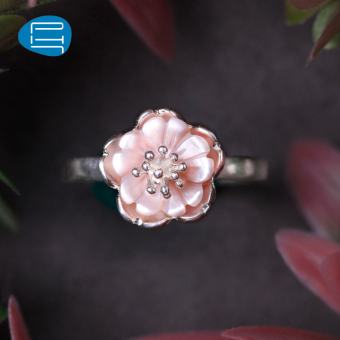 PH7 flowers silver ring female sweet shell peach ring Japan and South Korea temperament silver jewelry products GUI honey on the ring gift