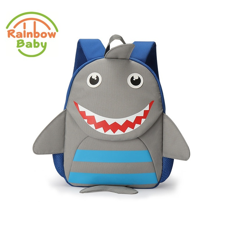 Rainbow Baby Cute Shark Bagpack Urltra-Light Kids & Babys Bags Wearable School Bags Non-Polluting Boys Bagpack Lovely Backpack(Grey) - intl