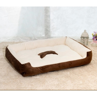 Harga Removable Puppy Cat Dog Bed Cushion Blanket Kennel Pet House M(Brown) - intl