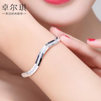 S999 sterling silver bracelet female day Korean-style Cool minimalist opening fine silver bracelet child fashion student silver jewelry lettering