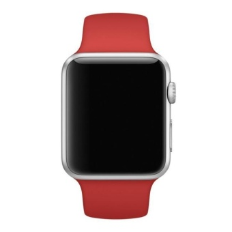Short Sports Silicone Bracelet Strap Band For Apple Watch 38mm RD -intl - 3