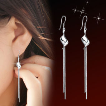 Silver plated Twisted Pieces Tassel Ear Stud Earrings Jewelry -intl