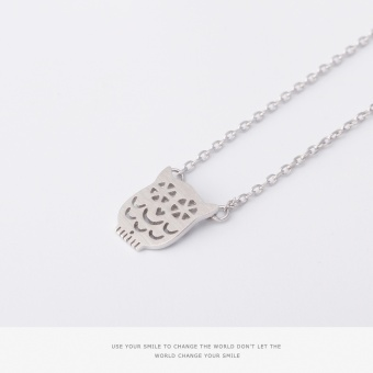 Simple cat 925 sterling silver owl pendant necklace