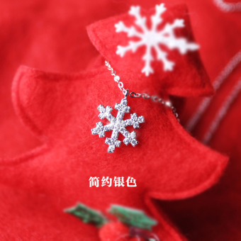 Snow s925 simple Christmas sterling silver temperament necklace