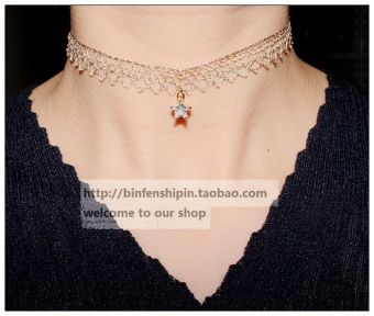 South Korea imported choker sexy off-white color lace star wide necklace neck strap necklace female